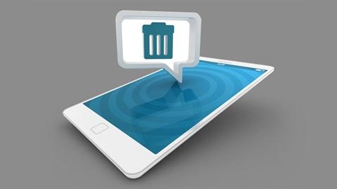 Smartphone met het symbool van een prullenbak erop