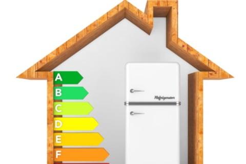 Afbeelding die de energieprestaties van een koelkast illustreert.